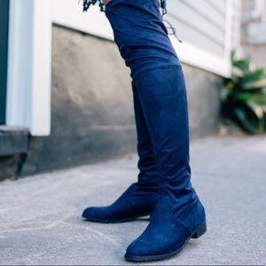 NWOT Unisa Blue Velvet Over-the-Knee Boots